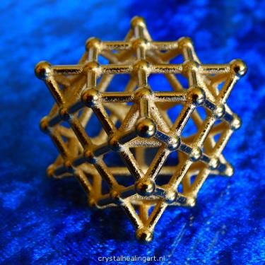 64 tetrahedron grid surface merkaba sacred geometry isotropic vector matrix heilige geometrie gold plated bronze goud brons