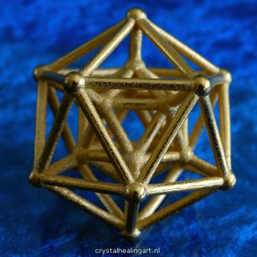 Hyper icosahedron icosaeder platonic solid 3d 4d dimension hypercube sacred geometry gold plated bronze goud brons heilige geometrie