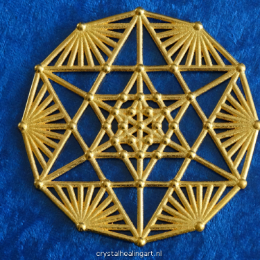 Merkaba fractal sacred geometry merkabah sun light healing heilige geometrie gold plated goud verguld bronze brons