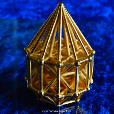 Merkaba matrix stargate sacred geometry healing heilige geometrie merkabah crystal healing art gold plated bronze goud brons