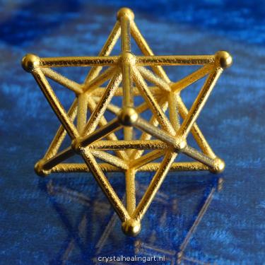 Merkaba star tetrahedron merkabah sacred geometry heilige geometrie ster tetraeder goud brons gold plated bronze crystal healing art