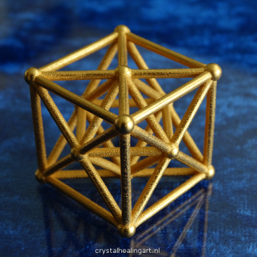 Metatron cube Merkaba star tetrahedron merkabah sacred geometry heilige geometrie ster tetraeder goud brons gold plated bronze crystal healing art