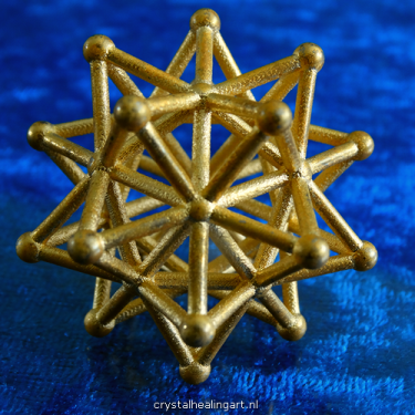 Stellated icosahedron star ster icosaeder platonic solid 3d sacred geometry gold plated bronze goud brons heilige geometrie