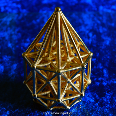 Tesseract matrix stargate sacred geometry hypercube dimension healing heilige geometrie crystal healing art gold plated bronze goud brons