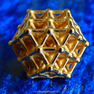 Vector equilibrium matrix sacred geometry heilige geometrie gold plated bronze goud brons 64 tetrahedron grid