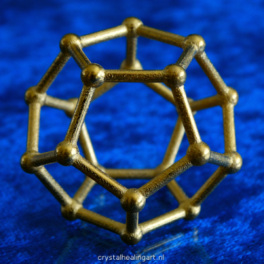 dodecaeder dodecahedron platonic solid 3d sacred geometry gold plated bronze goud brons heilige geometrie