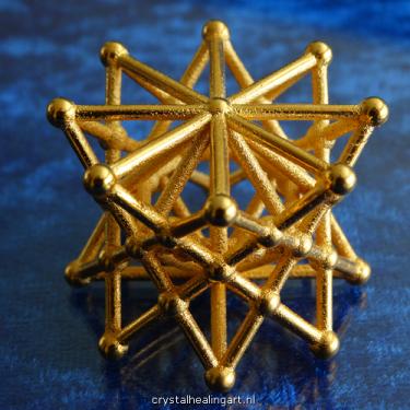double Merkaba star tetrahedron merkabah sacred geometry heilige geometrie ster tetraeder goud brons gold plated bronze crystal healing art