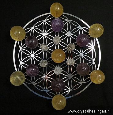 Flower of life metal disk crystal healing art energy grid